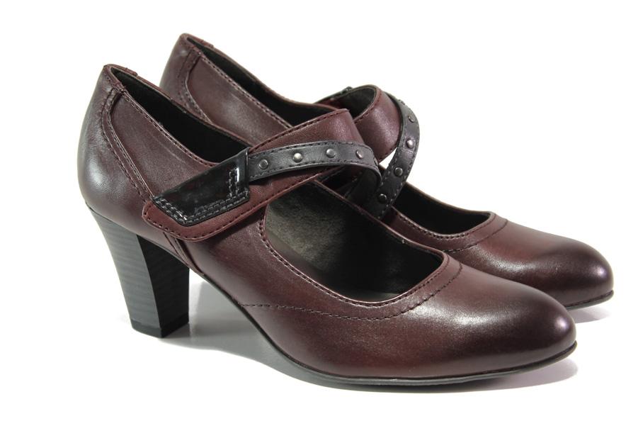 Дамски обувки на среден ток - естествена кожа - бордо - EO-12943