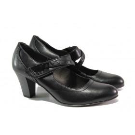 Дамски обувки на среден ток - естествена кожа - черни - EO-12944