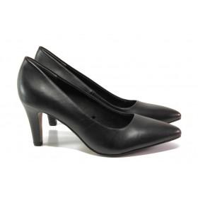 Дамски обувки на висок ток - естествена кожа - черни - EO-12945