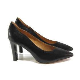 Дамски обувки на висок ток - естествена кожа - черни - EO-12946
