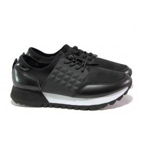 Дамски маратонки - еко-кожа с текстил - черни - EO-12949