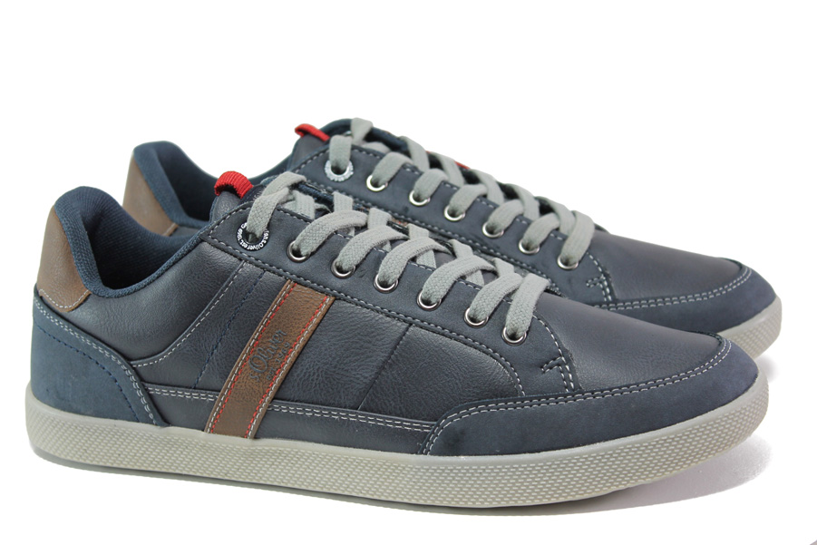 Спортни мъжки обувки - висококачествена еко-кожа - сини - EO-12985