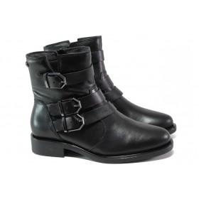 Дамски боти - естествена кожа - черни - EO-12980