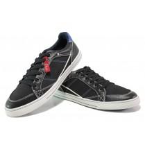 Спортни мъжки обувки - висококачествена еко-кожа - черни - EO-12983