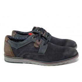 Мъжки обувки - естествен набук - тъмносин - EO-12982