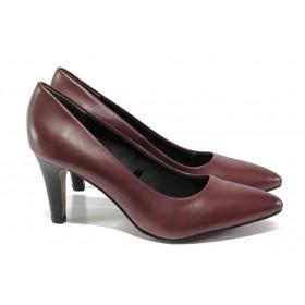 Дамски обувки на висок ток - естествена кожа - бордо - EO-12973