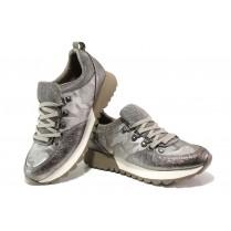 Дамски маратонки - еко-кожа с текстил - сиви - EO-12975