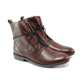 Дамски боти - естествена кожа - бордо - EO-12999