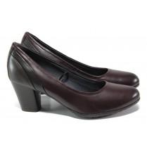 Дамски обувки на среден ток - естествена кожа - бордо - EO-13017