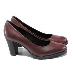 Дамски обувки на висок ток - естествена кожа - бордо - EO-13015