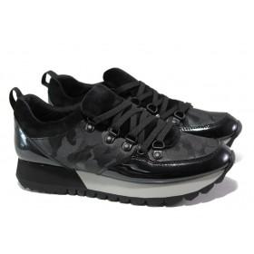 Дамски маратонки - еко-кожа с текстил - черни - EO-13018