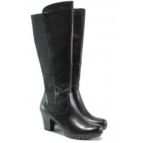 Дамски ботуши - естествена кожа в съчетание с еко-кожа - черни - EO-13023