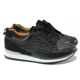 Дамски спортни обувки - естествена кожа - черни - EO-13027