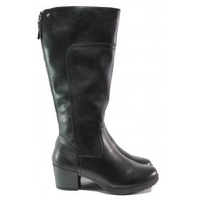 Дамски ботуши - естествена кожа - черни - EO-13054