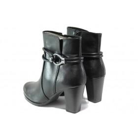 Дамски боти - естествена кожа - черни - EO-13061