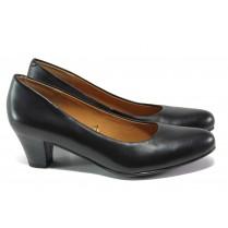 Дамски обувки на среден ток - естествена кожа - черни - EO-13069
