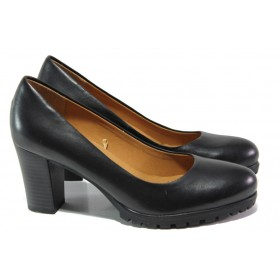 Дамски обувки на висок ток - естествена кожа - черни - EO-13068