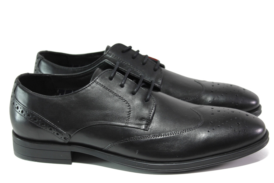 Мъжки обувки - естествена кожа - черни - EO-13063
