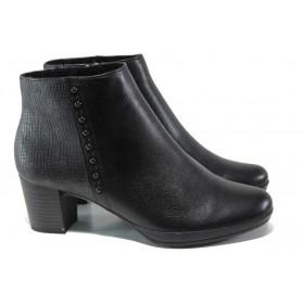 Дамски боти - естествена кожа - черни - EO-13108