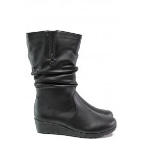 Дамски ботуши - естествена кожа - черни - EO-13106