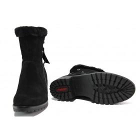 Дамски боти - естествен набук - черни - EO-13107