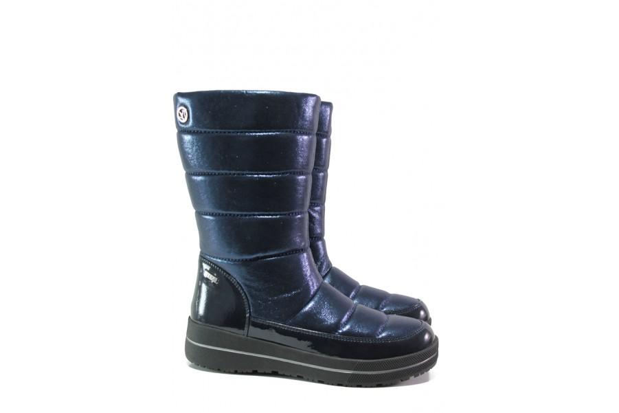 Дамски ботуши - висококачествен pvc материал - сини - EO-13196