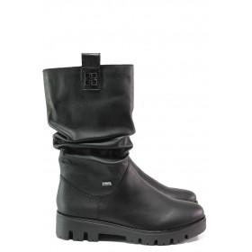 Дамски ботуши - естествена кожа - черни - EO-13273