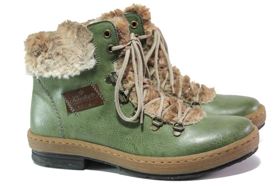 Дамски боти - висококачествена еко-кожа - зелени - EO-13329