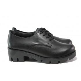 Дамски обувки на среден ток - естествена кожа - черни - EO-13344