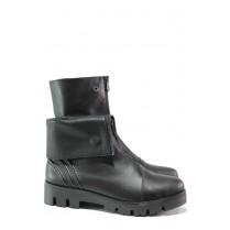 Дамски боти - естествена кожа - черни - EO-13345