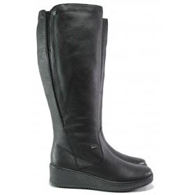 Дамски ботуши - естествена кожа - черни - EO-13346