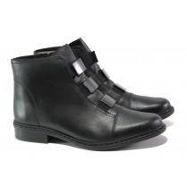 Дамски боти - естествена кожа - черни - EO-13381