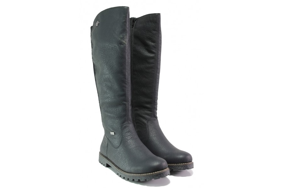 Дамски ботуши - висококачествена еко-кожа - черни - EO-13372