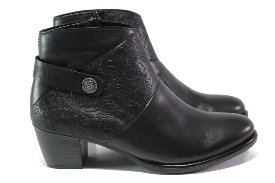 Дамски боти - естествена кожа - черни - EO-13389
