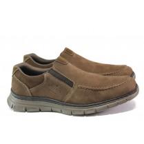 Мъжки обувки - естествен набук - кафяви - EO-13391