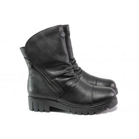 Дамски боти - естествена кожа - черни - EO-13414
