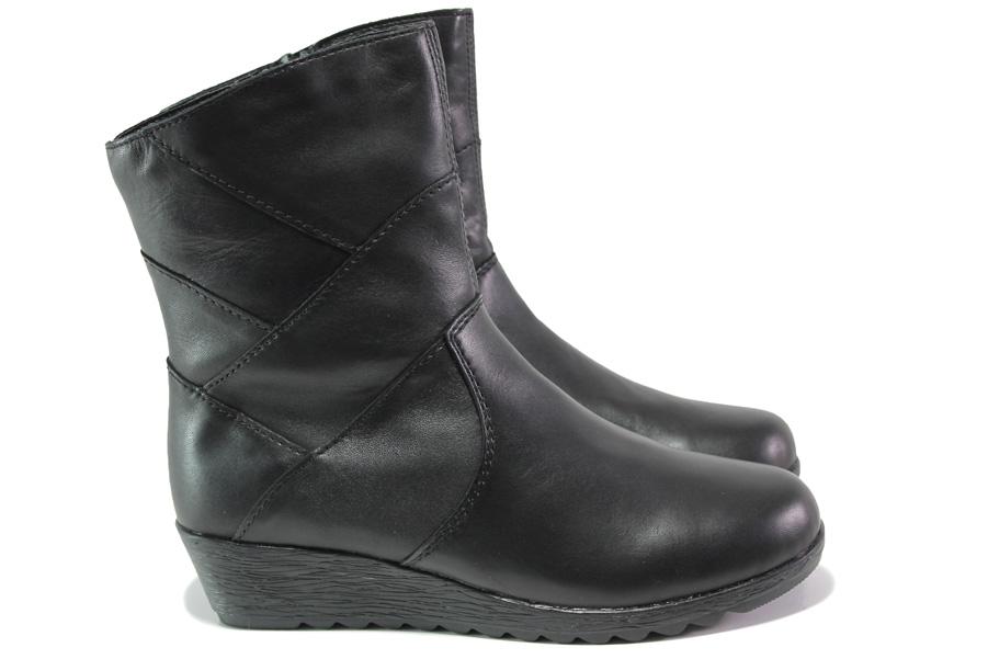 Дамски боти - естествена кожа - черни - EO-13423