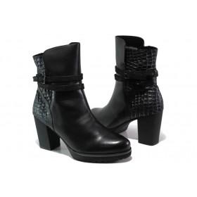 Дамски боти - естествена кожа - черни - EO-13461