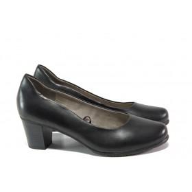Дамски обувки на среден ток - естествена кожа - черни - EO-13460