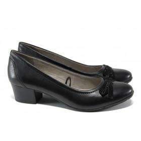 Дамски обувки на среден ток - естествена кожа - черни - EO-13487