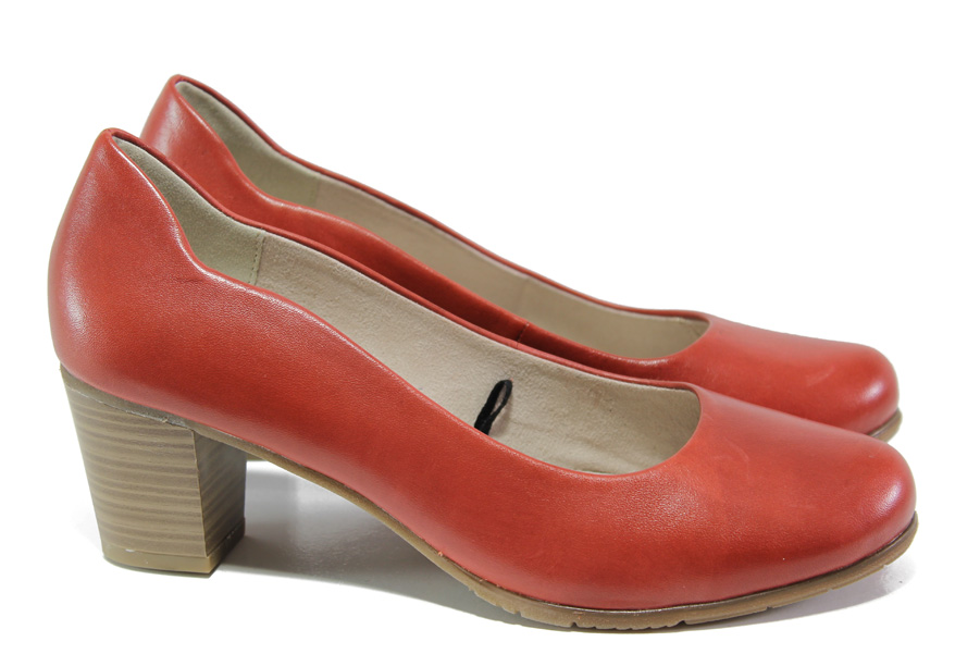 Дамски обувки на среден ток - естествена кожа - червени - EO-13486