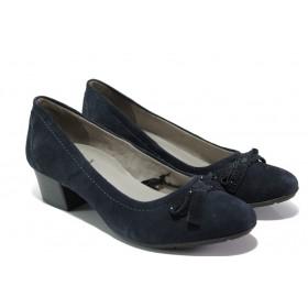 Дамски обувки на среден ток - естествен велур - тъмносин - EO-13490