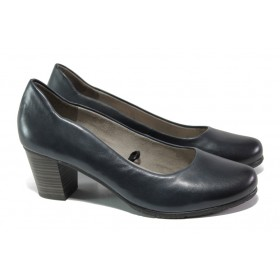 Дамски обувки на среден ток - естествена кожа - тъмносин - EO-13489
