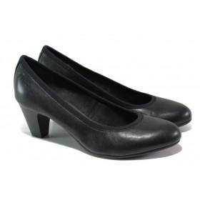 Дамски обувки на среден ток - висококачествена еко-кожа - черни - EO-13491
