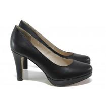 Дамски обувки на висок ток - висококачествена еко-кожа - черни - EO-13501