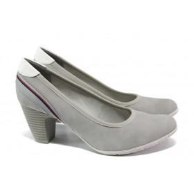 Дамски обувки на среден ток - висококачествена еко-кожа - сиви - EO-13500