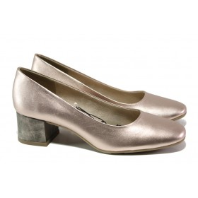 Дамски обувки на среден ток - висококачествена еко-кожа - розови - EO-13496