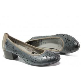 Дамски обувки на среден ток - естествена кожа - тъмносин - EO-13498