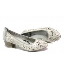 Дамски обувки на среден ток - естествена кожа - бели - EO-13497