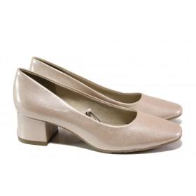 Дамски обувки на среден ток - еко кожа-лак - розови - EO-13495